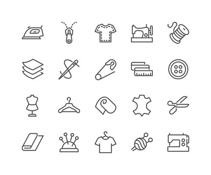 Simple Set of Sewing Related Vector Line Icons. Contains such Icons as Sewing Machine, Measuring Tape, Wool and more. Editable Stroke. 48x48 Pixel Perfect.