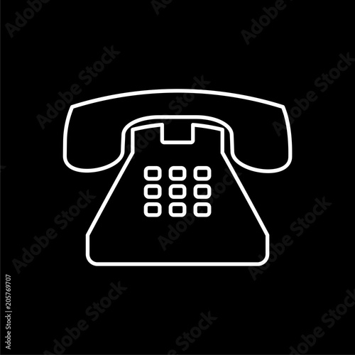 Old Phone Icon Phone Vector Icon Old Vintage Telephone Symbol On