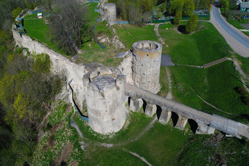 The top view on Gate Towers of Koporye fortress. Leningrad region. Russia (aerial photograph)
