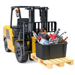 Forklift truck with box full of car parts, 3D rendering
