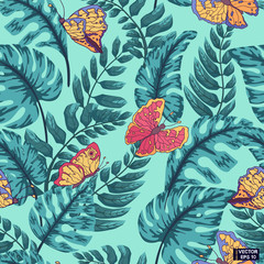 Blue leaves,colored seamless pattern.