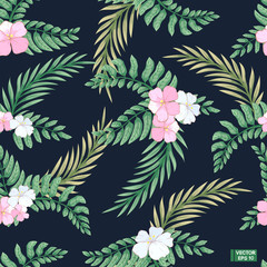 Seamless pattern tropical leaves.