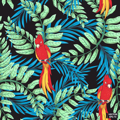 Seamless pattern, colored parrots.