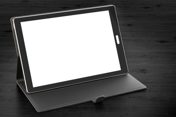 Tablet computer with blank screen and case on the wooden table, 3D rendering