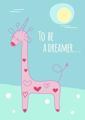 giraffe with unicorn horn