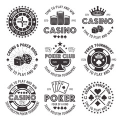 Poker and casino vector black gambling emblems
