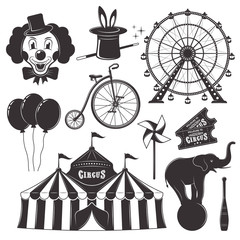 Circus and amusement park vector black objects