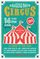 Circus amazing show colored poster in flat style