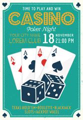Casino and poker invitation colored poster