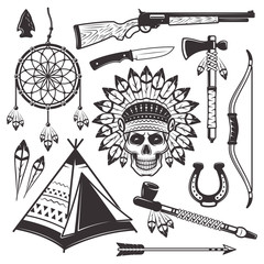 Native american indian vector objects and elements