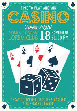 Casino and poker invitation colored poster