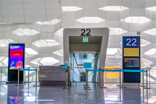 Interior view of airport terminal