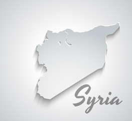 Map of Syria. Abstract white vector paper map