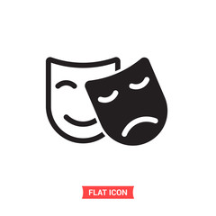 Theatre mask vector icon, comedy and drama symbol. Flat sign illustration for web or mobile app on white background