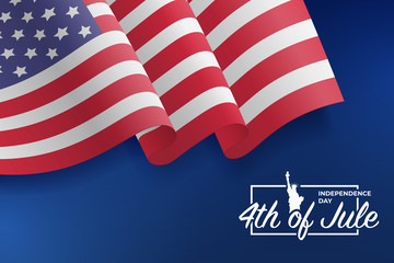 United States waving flag. Fourth of July celebrate. 4th of Jule. Fourth of July Independence Day 2018. Template for website banner. Blue background with stars and confetti. Vector illustration