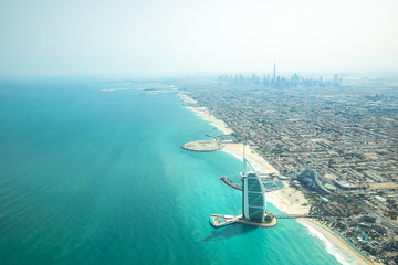 Keuken foto achterwand Dubai Aerial view of Dubai coast line on a beautiful sunny day.