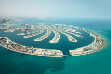 Tuinposter Dubai Aerial view of Palm Jumeirah man made island.