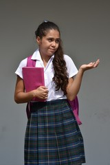 Confused Catholic Colombian Person Wearing Uniform With Notebook