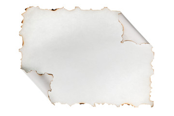 Rolled-up piece of paper with the scorched edges. Isolated