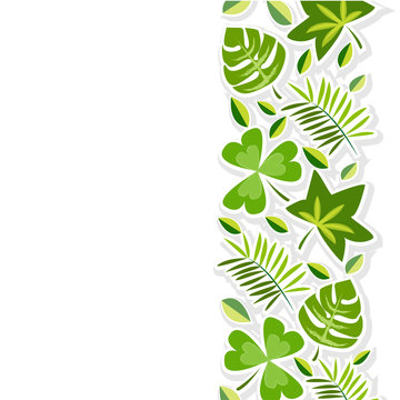Vector Illustration EPS 10, hand drawn green leaf pattern for environment day