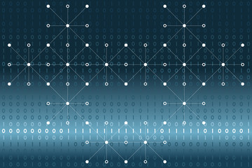 Digital binary data, white dots and lines network on blue gradient background. Vector illustration, EPS10. Use as backdrop, montage, visual content for modern, science, technology, cyberspace concepts