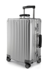 Suitcase or traveling luggage bag isolated on white background