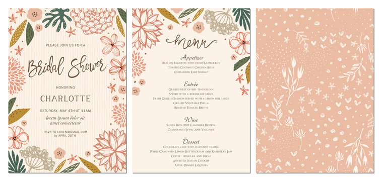 Rustic hand drawn Bridal Shower invitation and menu with seamless background.
