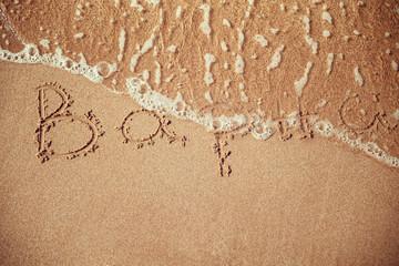 Varna writen on a beach sand