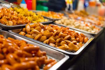 Sausages Displayed At Local Food Market