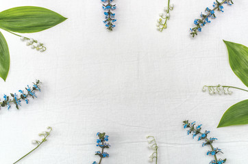 Forest and wild flowers on a white background