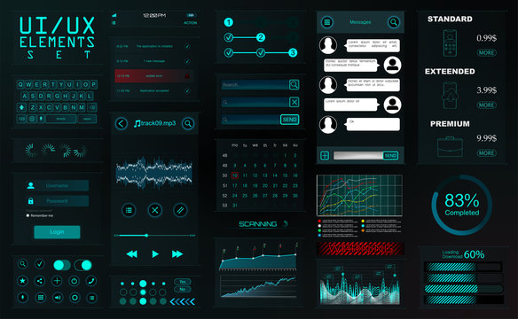 Modern Mobile UI Kit For App Development. Elements for Mobile Application Phone Mockups and Wireframes (Notifications, chat, audio player, infographic, download items) Vector elements set Ui Kit