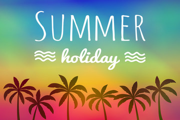 Summer holiday - tropical card. Vector.