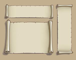 Three Engraved Cartoon Scrolls