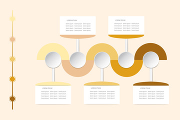 Modern infographic labels as wavy waves in shadows of yellow and brown color with rectangles, circles and timeline ready for your text.