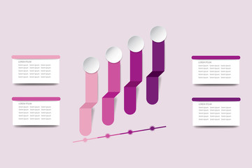 Infographic vector in shades of pink and purple color showing an upward trend on the timeline. Blank rectangles on the sides are ready for your text.