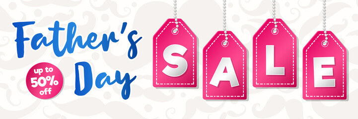 Father's Day Sale - colourful header. Vector.