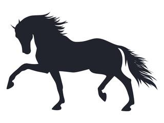 A silhouette of a trotting horse.