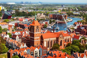 Obraz Gdansk, Polska, pejzaż miejski widok na stare miasto - fototapety do salonu