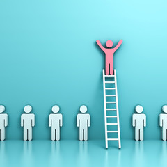 Stand out from the crowd and think different concepts , One pink man standing with arms wide open on top of  ladder above other people on light blue pastel background with reflections . 3D rendering.