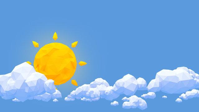 Low Poly Wolken und Sonne in blauem Himmel