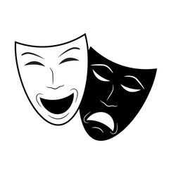 Theater icon with happy and sad masks, stock vector illustration