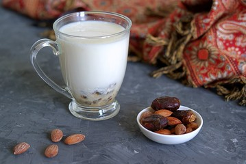 Ramadan concept. Traditional drink for Ramadan iftar, milk with dates in a clear glass cup