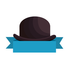 hipster style cap accessory with ribbon vector illustration design