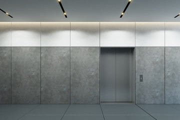modern elevator with closed doors in office lobby