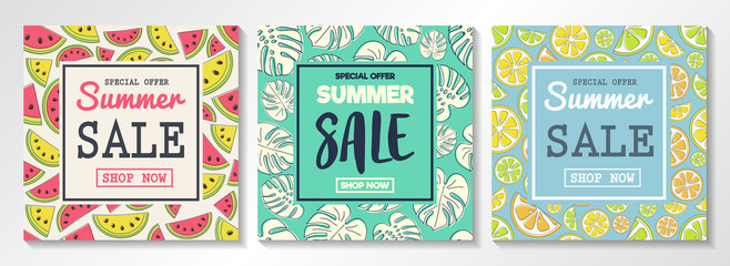 Summer Sale - set of colourful posters. Vector.