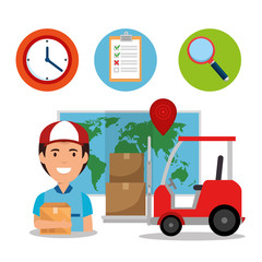 delivery service set icons vector illustration design
