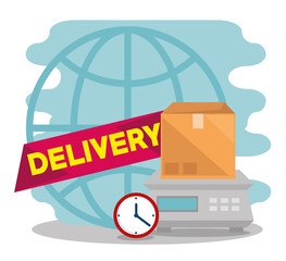 delivery service with box in scale measure vector illustration design