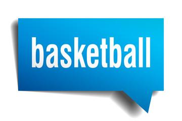 basketball blue 3d speech bubble