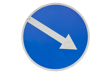 Road sign 'Keep Right' isolated on white