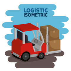 delivery service with forklift vector illustration design